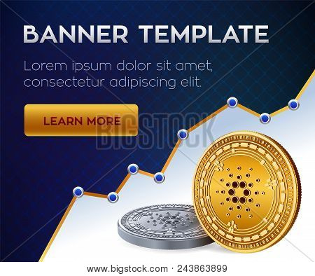 Cryptocurrency Editable Banner Template. Cardano. 3d Isometric Physical Bit Coin. Golden And Silver