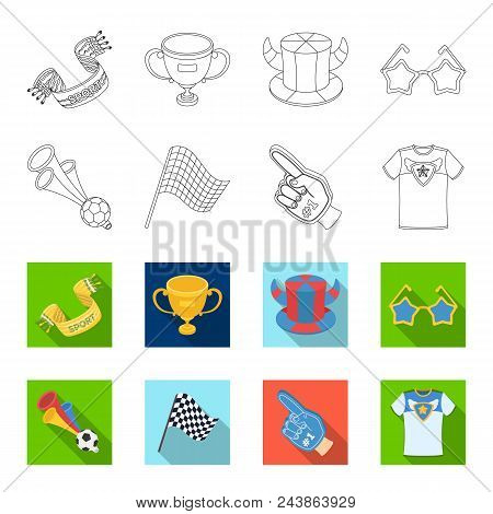 Pipe, Uniform And Other Attributes Of The Fans.fans Set Collection Icons In Outline, Flat Style Vect