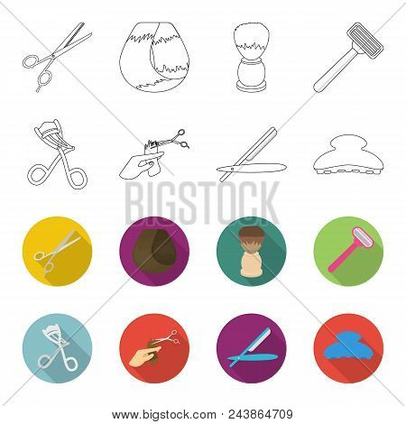 Scissors, Brush, Razor And Other Equipment. Hairdresser Set Collection Icons In Outline, Flat Style
