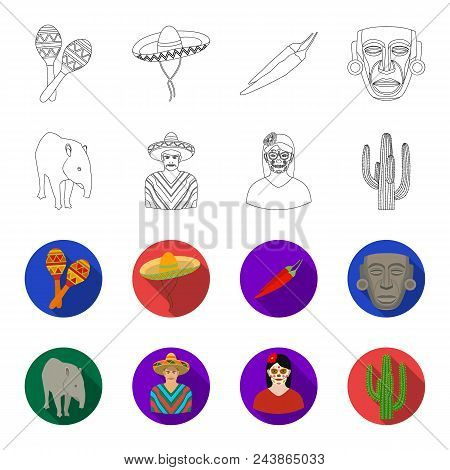 Tapir Mexican Animal, A Mexican In National Clothes In A Poncho, A Woman With A Flower, A Cactus. Me