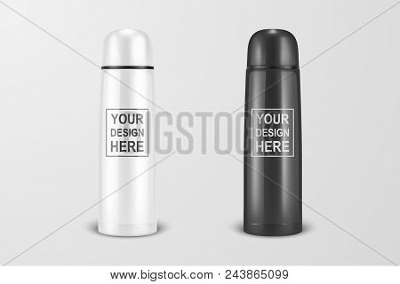 Vector Realistic 3d White And Black Empty Glossy Metal Vacuum Thermo Tumbler Flask Icon Set Closeup