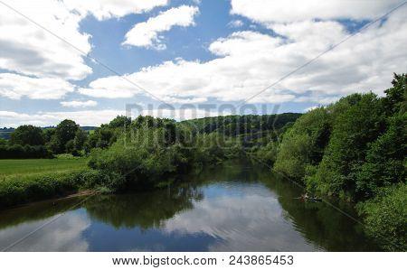 A Summer Evening On The River Wye, Near Hay On Wye