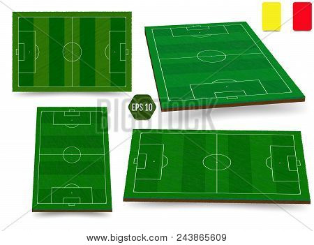 Soccer, European Football Field In Top View Different Angles Point Of Perspective View. Isolated Vec