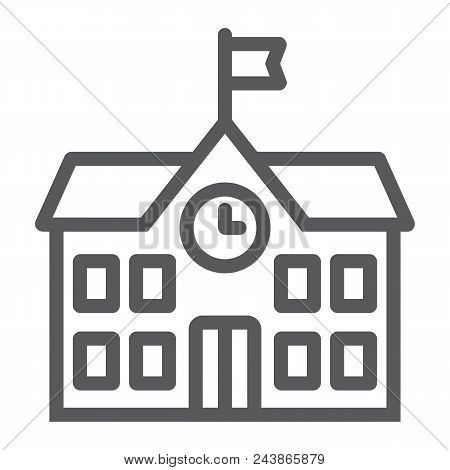 School Building Line Icon, School And Education, Architecture Sign Vector Graphics, A Linear Pattern