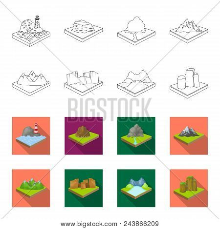 Mountains, Rocks And Landscape. Relief And Mountains Set Collection Icons In Outline, Flat Style Iso