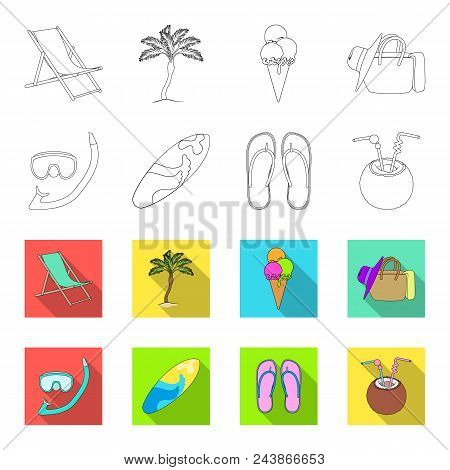 Diving, Surfing, Cocktail.summer Vacation Set Collection Icons In Outline, Flat Style Vector Symbol