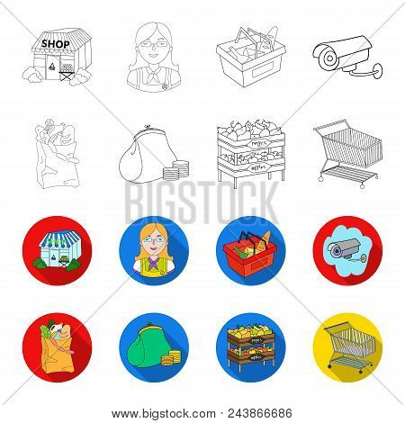 Sausages, Fruit, Cart .supermarket Set Collection Icons In Outline, Flat Style Vector Symbol Stock I