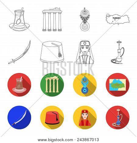 Turkish Fez, Yatogan, Turkish, Hookah.turkey Set Collection Icons In Outline, Flat Style Vector Symb