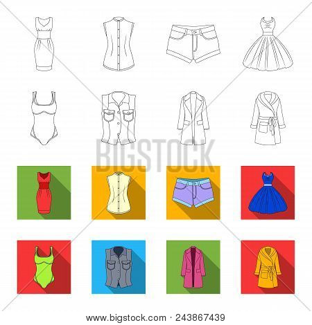 Women Clothing Outline, Flat Icons In Set Collection For Design.clothing Varieties And Accessories V