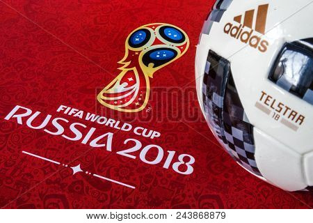 8 April 2018 Moscow, Russia Official Ball Of The 2018 Fifa World Cup Adidas Telstar 18 And A Calenda