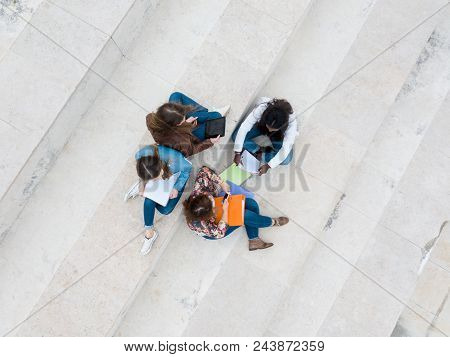 Drone Shot : Group Multi Ethnic Young Students At The University Campus