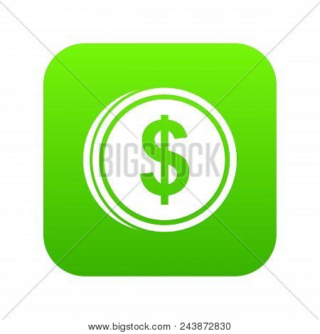 Coin Dollar Icon Digital Green For Any Design Isolated On White Vector Illustration