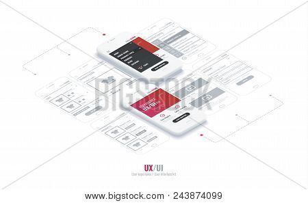 Website Wireframe For Mobile Apps With Link . A Conceptual Mobile Phones With A Mobile App Page. Use