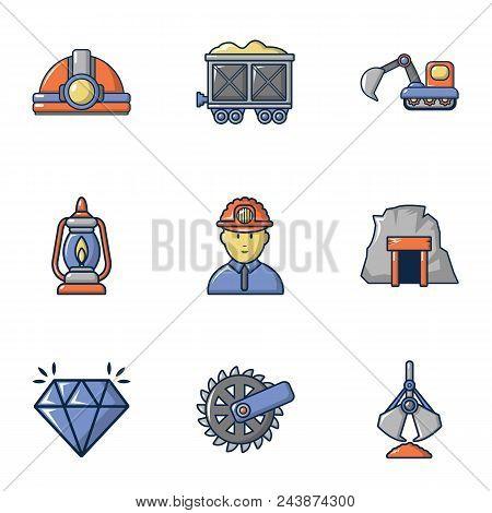Mining Icons Set. Cartoon Set Of 9 Mining Vector Icons For Web Isolated On White Background