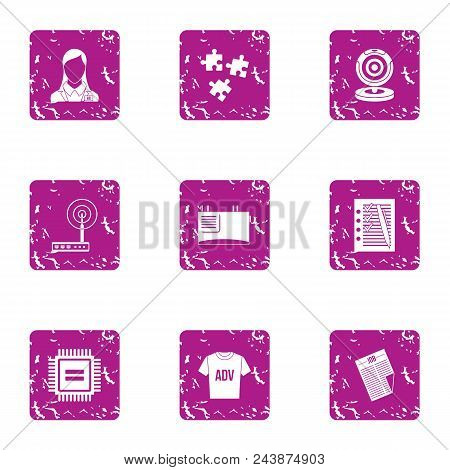 Advertising Commerce Icons Set. Grunge Set Of 9 Advertising Commerce Vector Icons For Web Isolated O