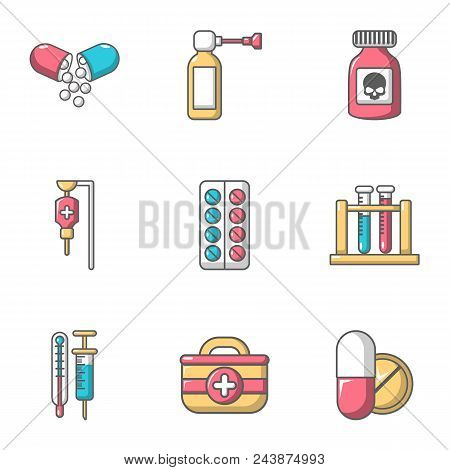 Remedy Icons Set. Cartoon Set Of 9 Remedy Vector Icons For Web Isolated On White Background