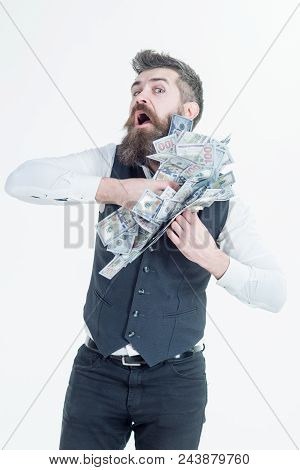 Portrait Of Corrupt Businessman Hiding Money In His Jacket. Bearded Man Putting Money In Pocket. Cor