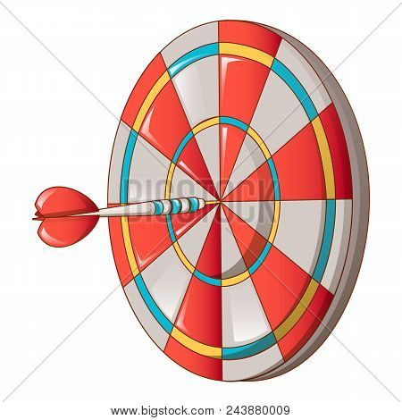 Hit Darts Target Icon. Cartoon Of Hit Darts Target Vector Icon For Web Design Isolated On White Back