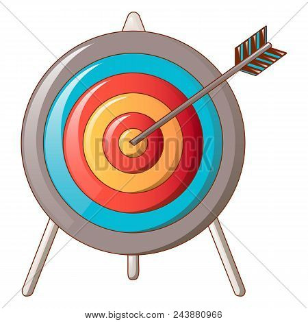 Hit The Target Icon. Cartoon Of Hit The Target Vector Icon For Web Design Isolated On White Backgrou