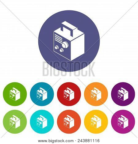 Electro Welding Machine Icons Color Set Vector For Any Web Design On White Background