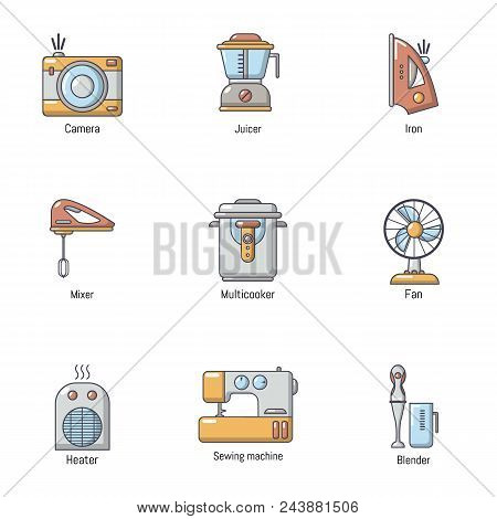 Domestic Place Icons Set. Cartoon Set Of 9 Domestic Place Vector Icons For Web Isolated On White Bac