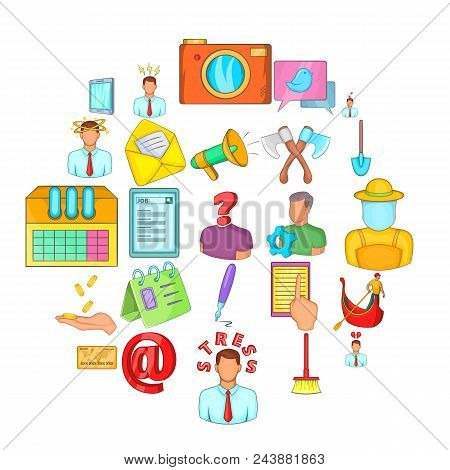 Job Vacancy Icons Set. Cartoon Set Of 25 Job Vacancy Vector Icons For Web Isolated On White Backgrou
