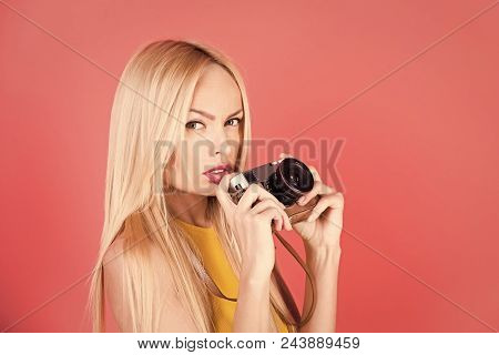 Photo Services. Sensual Woman With Long Blonde Hair On Pink. Sensual Blond Woman With Long Hair On P