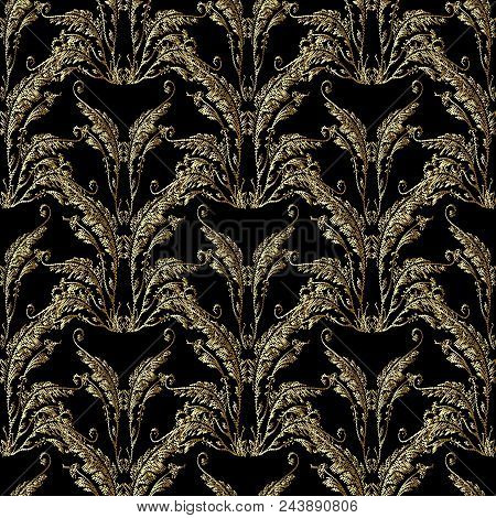Baroque Embroidery Seamless Pattern. Floral Damask Background Wallpaper With 3d Gold Vintage Grunge