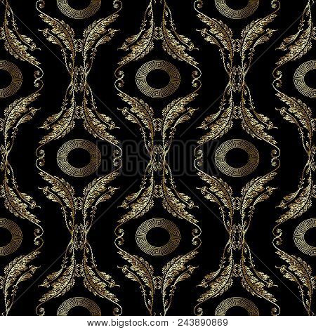 Baroque Embroidery Seamless Pattern. Floral Embroidered Greek Vector Background Wallpaper With 3d Go