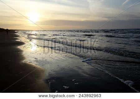 Riga Gulf Coast Near Vecaki, Latvia. Coast At Low Tide