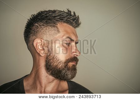 Barber Shop. Hair Style. Man With Bearded Face Profile And Stylish Hair Pose On Grey Background. Bar
