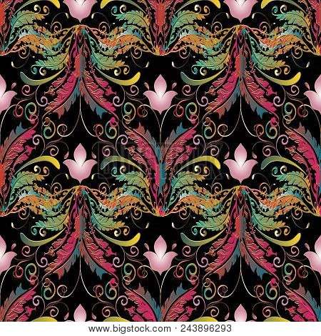 Baroque Seamless Pattern. Floral Damask Black Background Wallpaper With 3d Colorful Butterflies, Pin