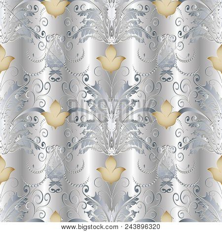Baroque Seamless Pattern. Floral Damask Silver Background Wallpaper With 3d Butterflies, Gold Lily F