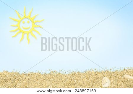 Clay Sun And Sand On Cyan Paper Surface, Summer Concept