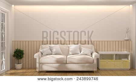 White Sofa With Cabinet In The Room 3d Illustration Furniture,modern Home Designs,shelves And Books