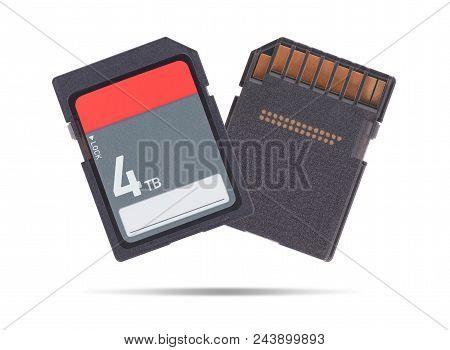 Memory Card Isolated On White Background - 4 Terabyte