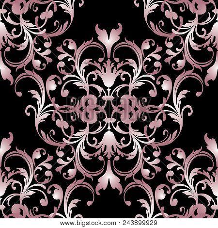 Baroque Seamless Pattern. Floral Damask Black Background Wallpaper Illustration With Vintage Pink 3d