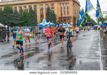 Dnipro, Ukraine - May 20, 2018: Group Of Participants Running On The Central Street Of Dnipro City D