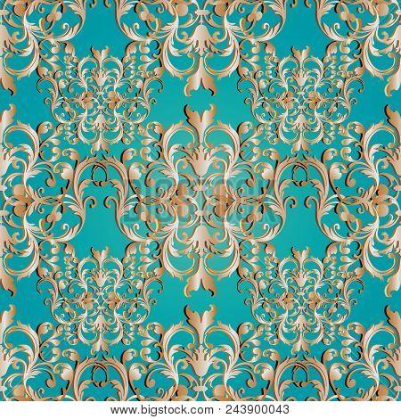 Baroque Seamless Pattern. Floral Damask Blue Background Wallpaper Illustration With Vintage Gold  3d