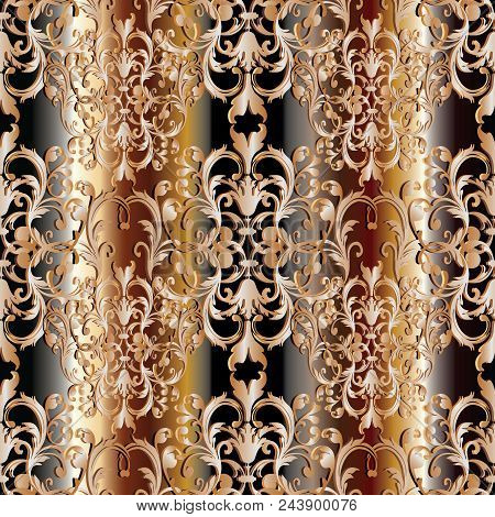 Baroque Seamless Pattern. Floral Damask Striped Background Wallpaper Illustration With Vintage Gold