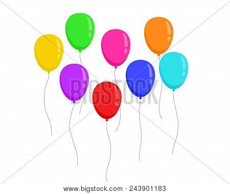 Set Fly Flat Colors Ballons Isolated On White Background. Vector Illustration.