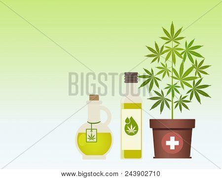 Marijuana Plant And Cannabis Oil. Hemp Oil In A Jar. Cbd Oil Hemp Products. Oil Glass Bottle Mock Up