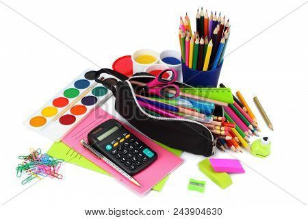 School And Office Supplies. School Background. Colored Pencils, Pen, Pains, Paper For  School And St