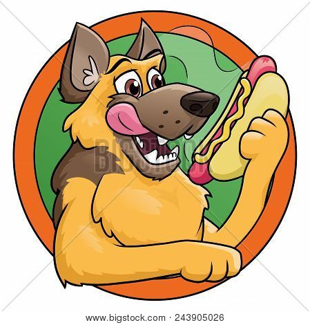 Illustration Of A Hungry Dog Holding A Hot Dog