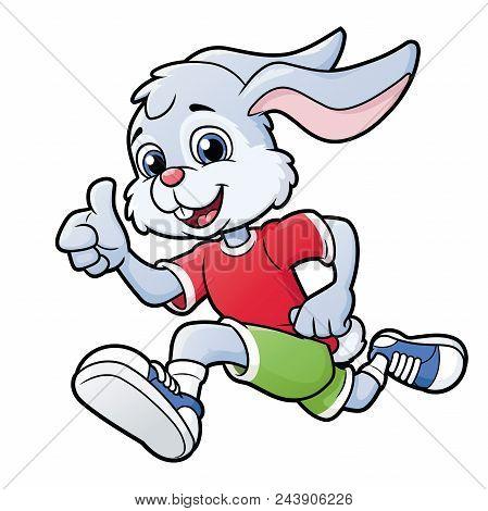 Illustration Of The Smiling Rabbit Jogging. White Background.