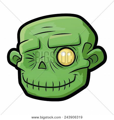 Illustration Of A Smiling Zombie Head On White Background
