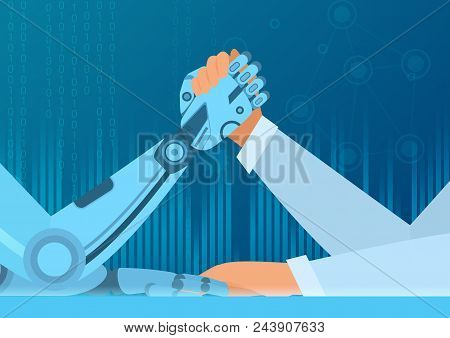 Human Arm Wrestling With Robot. The Struggle Of Man Vs Robot. Artificial Intelligence Vector Illustr