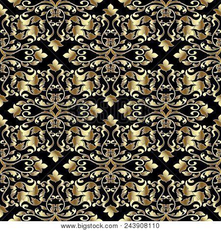 Baroque Damask Vintage Seamless Pattern. Black Vector Background Wallpaper Illustration With Gold 3d