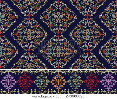 Damask Baroque Seamless Pattern And Border Set. Floral Vector Background Wallpaper Illustration With