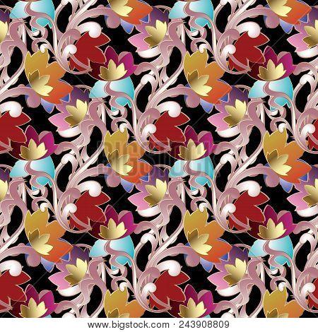 Baroque Damask Seamless Pattern. Vintage Black Floral Vector Background Wallpaper Illustration With